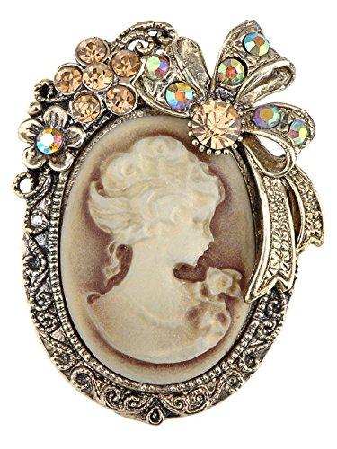 Alilang Broche de estilo antiguo de imitación del camafeo dama de arco de la cinta