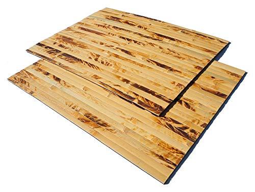 2er Set Bambus Tischsets, Platzsets, Handgefertigt Platzdeckchen, umweltfreundlich und hitzebeständig für Dekoration und Schutz, 40x30cm, gelb