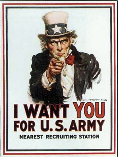 """Amazon.com: I Want You for U.S. Army - Nearest Recruiting Station Vintage  USA Patriotic Military Reproduction Poster (19 1/4 x 26 1/4""""): Prints:  Posters & Prints"""