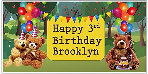 Personalized Teddy Bears Picnic Balloon Birthday Banner