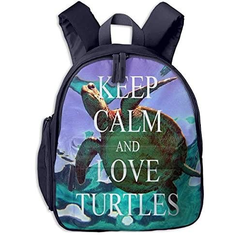 Keep Calm and Love Pet Turtles Borsa per bambini Zaino durevole per studenti Borsa colorata Super