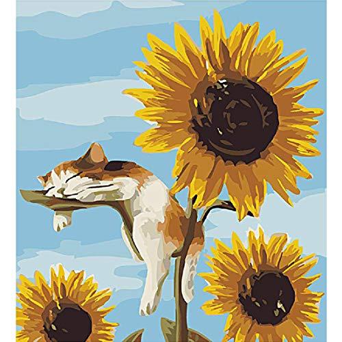 Handgemaakte digitale fotolijst olieverfschilderij 40 * 50cm poster plant zonnebloem en kat kleur huisdecoratie schilderij bloem een minuut te laat word je een schilder,Yellow-40 * 50cm