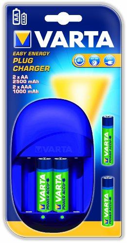 Varta Easy Energy Lot de 4 chargeurs Plug-and-Play avec Batterie NiMH AA Mignon 2500 mAh