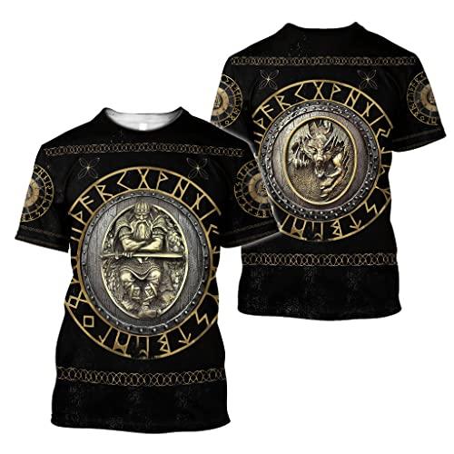 Dixinla Conjunto de Sudadera con Capucha Estampada en 3D para Hombre, Suéter de Tatuaje de Armadura Vikinga Valknut, Outwear Casual con Bolsillos,T Shirt,5XL