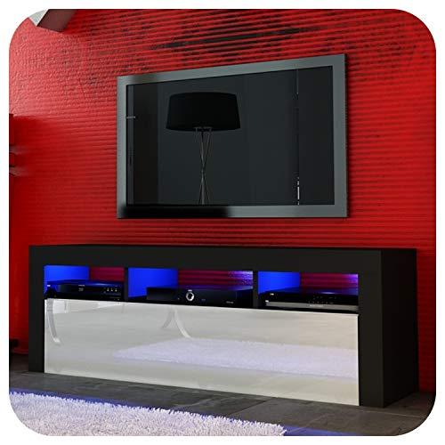 NEU! Superb TV-Schrank, 130 cm, Schwarz oder Weiß, Acryl-Tür, schwebend/stehend + LED mit Fernbedienung Small Black Matt + White Gloss