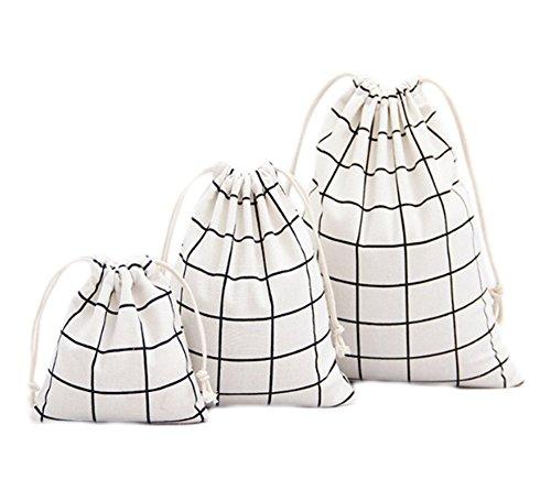 Gespout Lot de 3 Naturel Jute Sachet Pochette en Tissu Coton Lin Pochette Cadeau Sachet pour Bijoux Fleurs de Lavande Cadeaux fête Anniversaire Poches Plaid Blanc