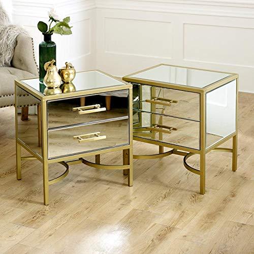 Melody Maison - Coppia di comodini a specchio dorato, serie Venus