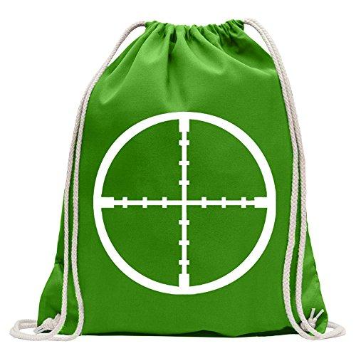 Kiwistar Cannocchiale Crosshair Divertente Zaino Sportivo per Il Fitness. Gymbag per Lo Shopping in Cotone con Coulisse