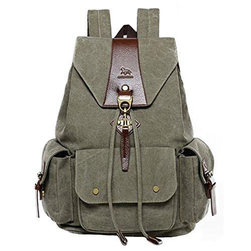 DoubleMay Unisex Damen Herren Vintage Retro Canvas Rucksack Schultasche Reisetasche Daypacks Backpack 14 Zoll Laptoprucksack für Uni Outdoor Sports Freizeit 34 x 18 x 46cm (Armee Grün)