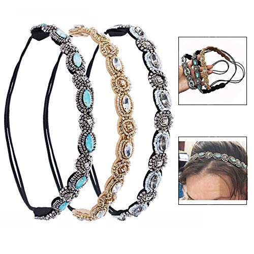 LHKJ 3 Pcs Diademas Mujer, Bandas para la Cabeza Elásticas, Diademas de Pelo, Diadema Cristal Diamante de Imitaciónpara Mujeres Niñas Accesorios para el Cabello de la Boda para Mujer