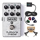 MXR M116 Fullbore Metal Distortion Pedal Bundle with Blucoil Power Supply Slim AC/DC Adapter for 9 Volt DC 670mA, 2-Pack of Pedal Patch Cables, and 4-Pack of Celluloid Guitar Picks