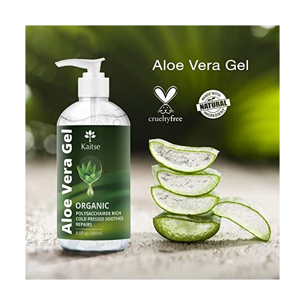 Aloe Vera Gel Juice for Face, Hair and Body – 100% Pure Cold Pressed – for Sun Burn, Eczema, Bug or Insect Bites, Dry Damaged Aging skin, Razor Bumps & Acne (250ml) After Sun Body Gel