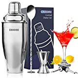 Martini Shaker Cocktail Shaker Set - CROOIRE Drink Shaker Kit with Accessories, 24 Ounce Bar Shaker...