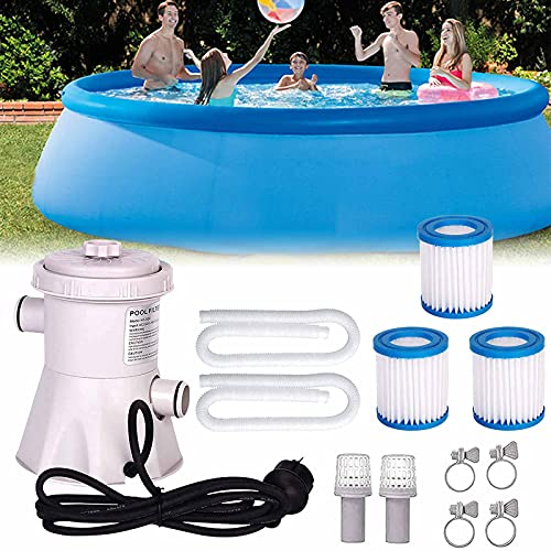 Swimming Pool Filter Pump Above Ground Pool Pump and Filter Electric Water Pump for Above Ground Pools 300 Gallon Cartridge Pool Filters Pump for Household Inflatable Pool with 1 Pool Filter Cartridge