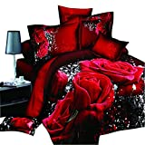 EsyDream Brand 3D Oil Red Rose Bedding Sets 5PC,100% Cotton 5PC Red Rose Duvet Cover Sets,King Size