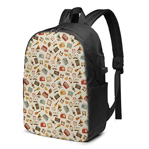 Laptop Rucksack Business Rucksack für 17 Zoll Laptop, Wecker Schreibmaschine Grammophon Schulrucksack Mit USB Port für Arbeit Wandern Reisen Camping, für Herren Damen