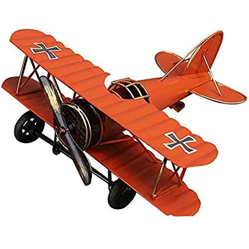 Flugzeugmodell, Vintage Flugzeug Modell Eisenmodell Metall Flugzeug-Dekoration Doppeldecker Flugzeug Miniatur Dekoration, Sammlung Büro Ornament - Orange (21,5x17,7x9 cm)