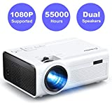 Mini Video Beamer Crosstour Full HD Unterstützt Heimkino Projector LED Handy Tragbar Projektor Kompatibel mit Chromecast/iPhone/Android/TV Box/Tablette