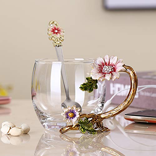 JY-Danbady Enamel Sunflower Crystal Lead-Free Glass Tea Cup with Spoon Set, Present for The Christmas, Valentine's Day.Best Present for Mother, Grandma, Girlfriend, Sister.