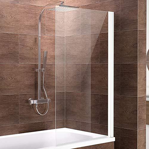 Schulte Duschwand Komfort zum Kleben, kein Bohren in Fliese notwendig, 70 x 130 cm, 5 mm Sicherheitsglas klar hell, alpinweiß, Duschabtrennung für Badewanne