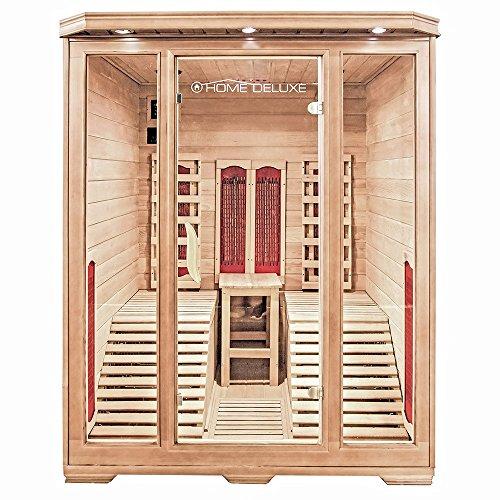 Home Deluxe – Infrarotkabine – Maui – Keramikstrahler– Holz: Hemlocktanne - Maße: 150 x 150 x 190 cm – inkl. vielen Extras und komplettem Zubehör