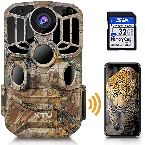 【2021 Upgraded】XTU WiFi Trail Camera, Hunting Camera 24MP 1296P HD Game Deer camera with Infrared Night Vision Motion Activated Waterproof for Wildlife Monitoring, Easy Install, 32GB SD Card Included