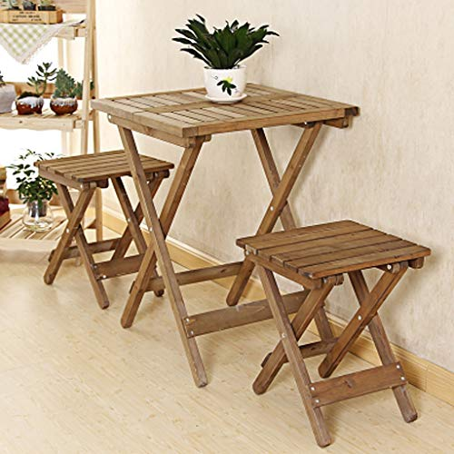 Pliante Table à manger en bois massif Installation gratuite Table et chaise Combinaison portable Balcon Table ronde en bois d'apprentissage Bureau Fleur Table 1 Table carrée + 2 chaises (brun)