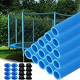 HENGMEI 16x Trampolin Schaumstoffrohre Schaumstoff blau 92 cm Stangenschutz für Trampolin Netzpfosten incl. Endkappen