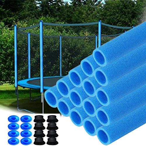 Hengmei - 16 tubos de espuma para trampolín de 92 cm, color azul, protección para postes de red de trampolín, incluye Tapas.