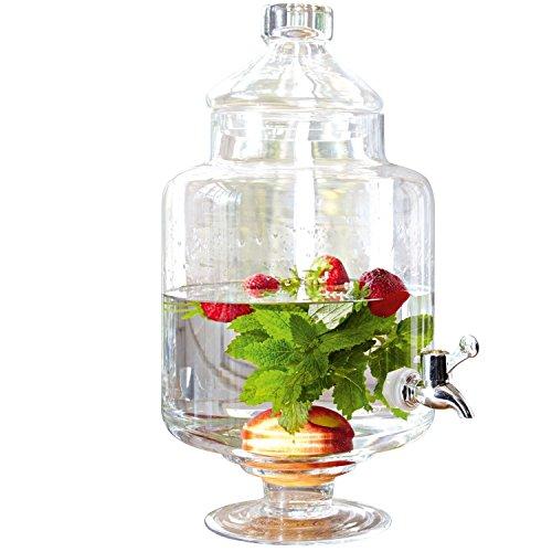 Loberon Getränkespender Cassis, Glas/Kunststoff verchromt, H/Ø ca. 39/20 cm, klar