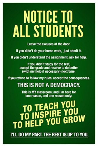 Homeschool Classroom Notice to Students Teachers Rules Green Chalk Board Educational Rules Teacher Supplies for School Teaching Toddler Kids Elementary Learning Laminated Dry Erase Wall Poster 12x18