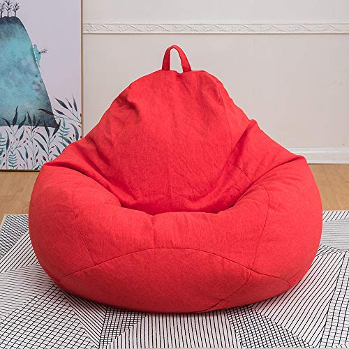 LLDEJUSH Puff Gigante Tumbona Perezosa Sofá Silla Cubierta Lino Asiento Beanbag Protector Extraíble Tamaño S/M/L-G258890_Grande