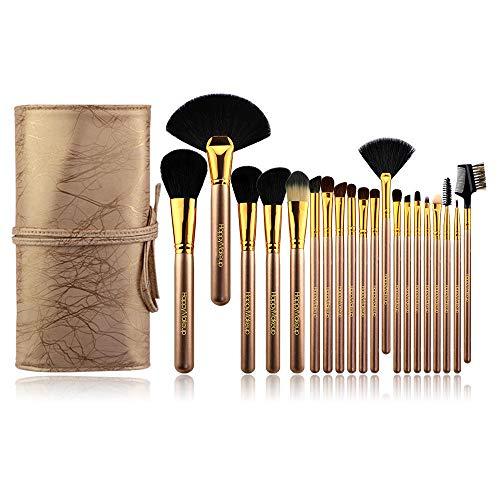 pinceaux de maquillage professionnels, synthétiques qualité supérieure pour fond teint, blush, correcteurs les yeux Costume 20 pièces, champagne