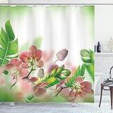 ABAKUHAUS Frühling Duschvorhang, Orchideen Blüten Blätter, mit 12 Ringe Set Wasserdicht Stielvoll Modern Farbfest & Schimmel Resistent, 175x240 cm, Pfirsich & Grün