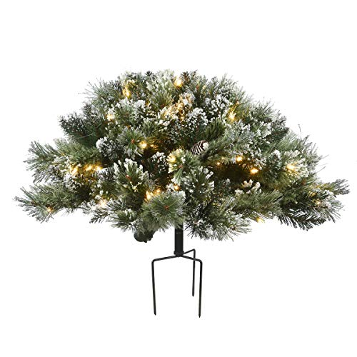 """National Tree Company 36"""" Glittery Bristle Pine Urn Filler with Battery Operated LED Lights, Green"""