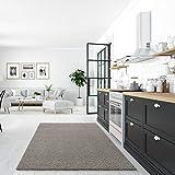 Impression Wohnzimmerteppich - Hochwertiger Öko-Tex zertifizierter Flächenteppich - Solid Color Teppich Hellgrau - Größe 80x150 - 7