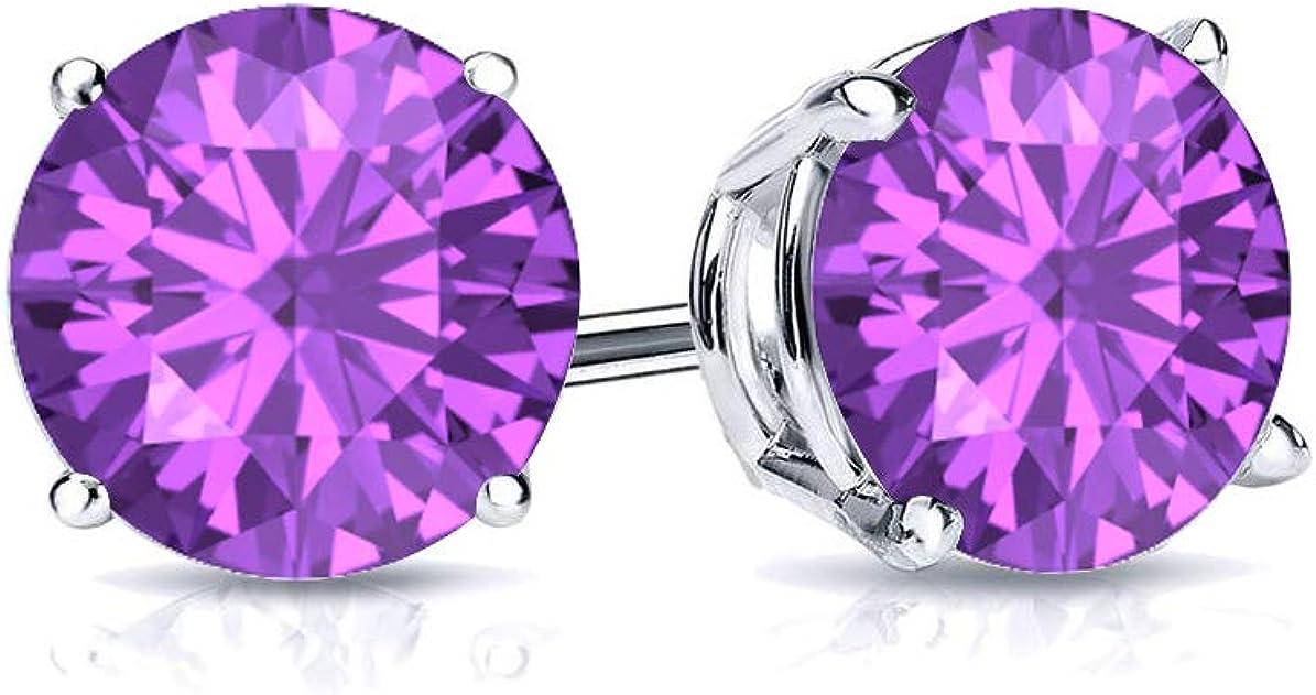 Max 70% OFF 925 Sterling Silver Purple Amethyst Birthstone Stud Popular products Gemstone Ear