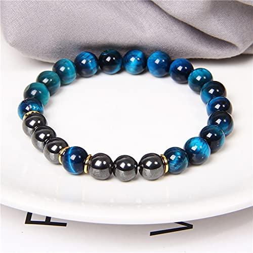 XIAORUI Pulseras de Cuentas de Ojo de Tigre Natural,brazaletes para Mujeres y Hombres, Pulsera de Cuentas de Equilibrio, joyería