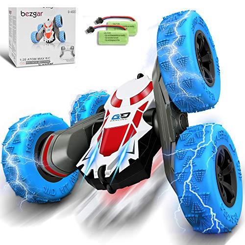 BEZGAR RC Stunt Auto, 4WD Ferngesteuertes Auto Doppelte doppelseitige 360°-Drehung Fahrzeuge Rc Offroad Spielzeug, 2 wiederaufladbare Batterien Bestes Spielzeug Geschenke für Kinder Jungen Mädchen