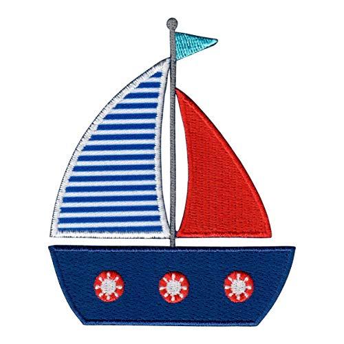 PatchMommy Segelboot Patch Aufnäher Applikation Bügelbild Segelschiff Boot Schiff - zum Aufbügeln oder Aufnähen - für Kinder/Baby
