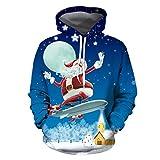 WXZZ Sudadera para hombre, divertida, con diseño de Papá Noel, con impresión en 3D, con capucha, para Navidad, clásica, de manga larga, Azul4, M
