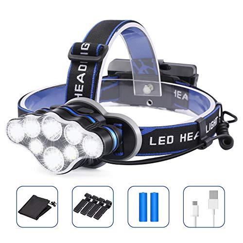 OUTAD USB Stirnlampe Wiederaufladbare, 8 LED Superheller Kopflampe Mit Rotem Blitzlicht, 18000 Lumen 8 Modi Leichtgewichts Stirnleuchte Wasserdicht Mit Clip für Camping, Fischen, Laufen, Arbeiten
