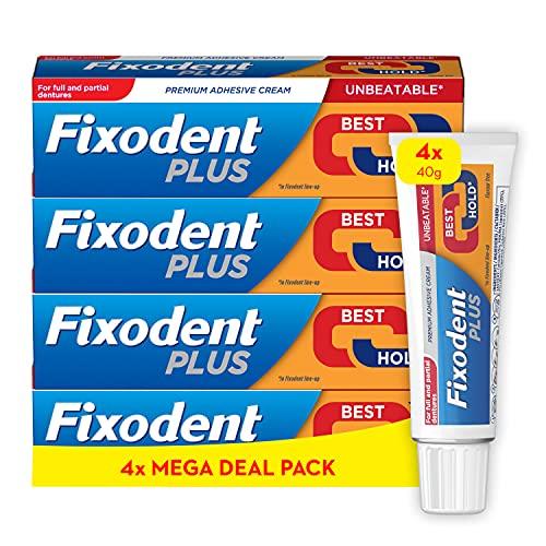 Fixodent Plus Best Hold Premium Denture Adhesive Cream 40g x4