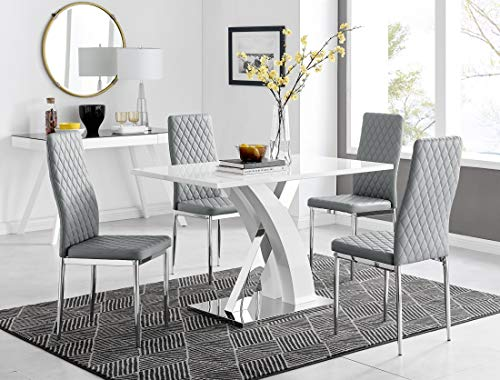 Atlanta 4 Rectangle White High Gloss Chrome Metal Modern Stylish 4 Seater Dining Table And 4 Modern Stylish Milan Dining Chairs Set (Dining Table + 4 Elephant Grey Milan Chairs)