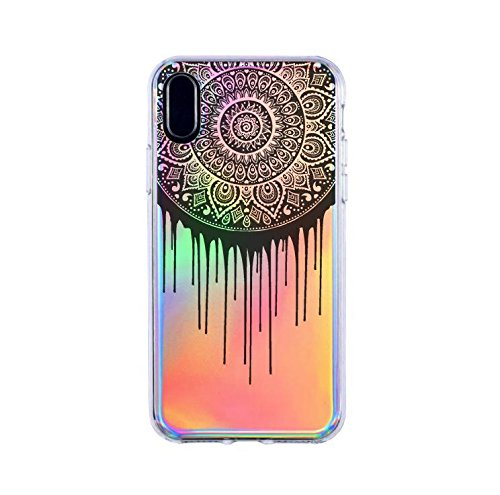 Milkyway Cases Dripping Mandala Holographic Iridescent Colorful Multi Colored Cell Phone Clear Case for iPhone 6Plus / 6s Plus / 7Plus / 8Plus