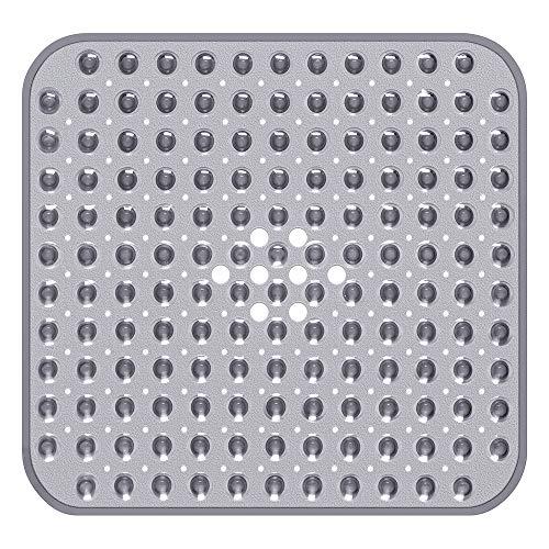 Yolife - Alfombrilla de baño Cuadrada para Ducha, 54 x 54 cm, Antideslizante para baño con Grandes Agujeros de Drenaje, ventosas Fuertes, sin BPA, látex, sin ftalatos, Lavable a máquina (Gris)