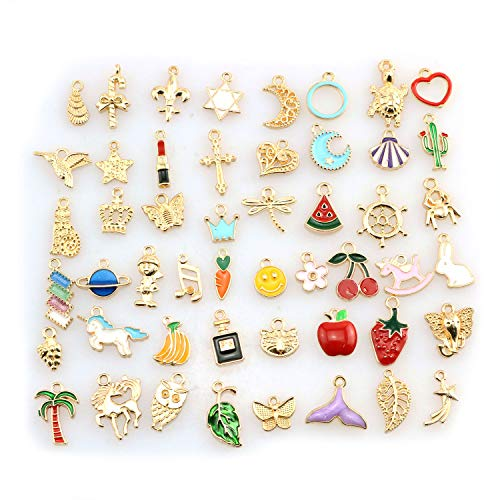 Tegg Enemal Charms 50PCS Gold Plated Metal Color Enameled Charm Pendant for DIY Jewelry Making