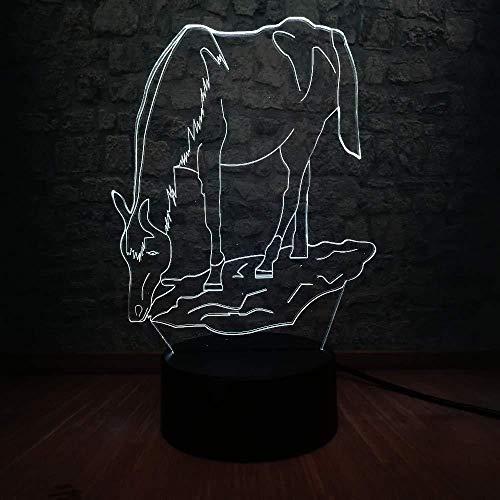 Jongens kerstgeschenken nachtlampje 3D paard nachtlampje LED 3D bedlampje bedlampje bedlampje bedlampje nachttafellamp RGB decoratie voor thuis kinderen decoratie voor het huis van het kind nachtlampje USB cadeau voor kinderen met afstandsbediening