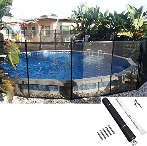 Poweka Valla de Seguridad para Piscina 366 x 122cm, Valla Temporal para Exteriores, Valla de Malla Segura para Niños sobre la Piscina