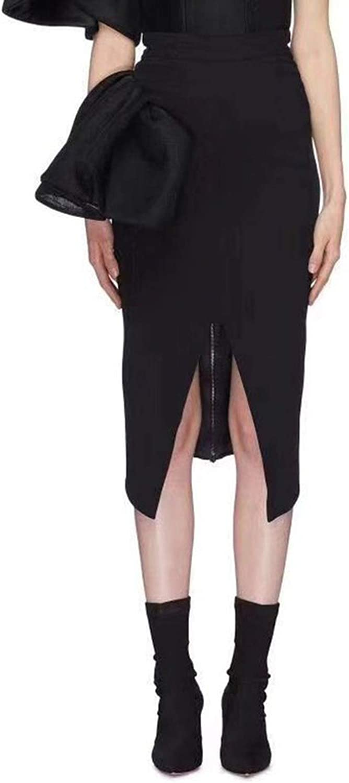 Meet fashion Women's Skirts Bowknot High Waist Front Split Midi Black Pencil Skirt Female Elegant